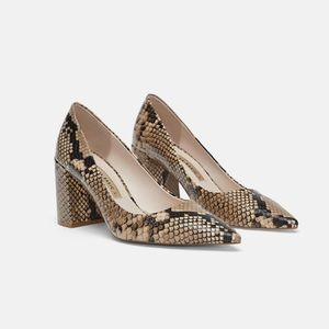 Zara Leather animal print heel